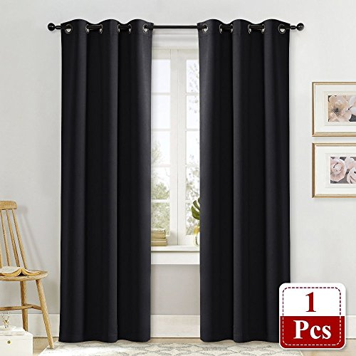 NICETOWN Soundproof Thermal Insulated Blackout Curtain Thermal Insulated Solid Grommet Blackout Drape for Dining Room (Single Panel, 42 Inch by 84 Inch, Black)