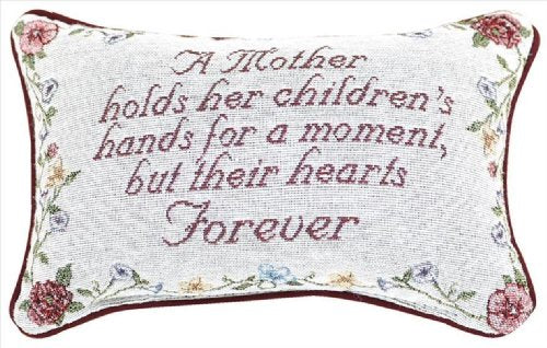 Manual 12.5 x 8.5-Inch Decorative Embroidered Word Pillow, A Mother Holds Her Children