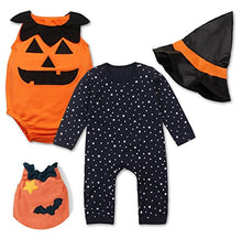 stylesilove Halloween Pumpkin Costume Pumpkin Vest, Romper and Hat 3-Piece (70/3-6 Months)