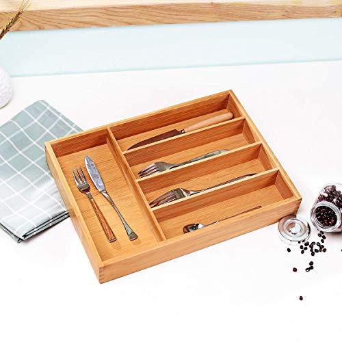 Bamboo Cutlery Tray Kitchen Utensil Silverware Flatware Drawer Organizer Dividers with 5 Compartment