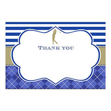 30 Blank Thank You Cards Notes Golf Birthday Party Blue Gold + 30 White Envelopes