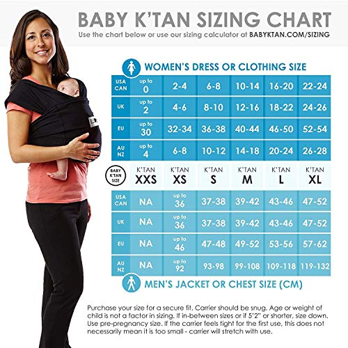 Baby K'tan Original Baby Wrap Carrier, Infant and Child Sling - Simple Wrap Holder for Babywearing - No Rings or Buckles - Carry Newborn up to 35 lbs, Heather Grey,Women 16-20 (Large), Men 43-46