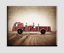 Vintage Fire Truck Art on Canvas