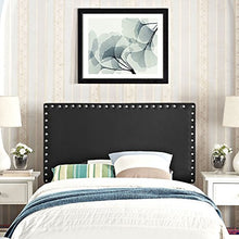 Modway Phoebe Faux Leather Upholstered Twin Headboard in Black with Nailhead Trim