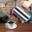 Image of Secura French Press Coffee Maker, 304 Grade Stainless Steel Insulated Coffee Press With 2 Extra Scre