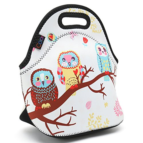 ICOLOR Cute Three Owls Boys Girls Insulated Neoprene Lunch Bag Tote Handbag lunchbox Food Container Gourmet Tote Cooler warm Pouch For School work Office