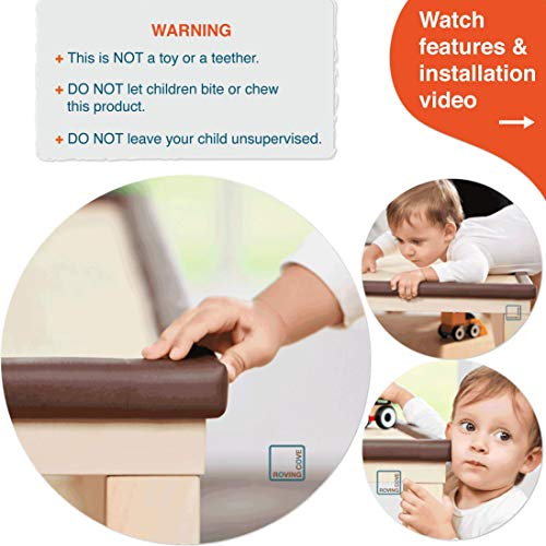 Roving Cove Corner Protector (8 Pack), Soft Baby Proofing Corner Guards, 3 M Pre Taped, Coffee Brown