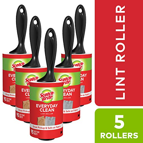 Scotch-Brite Lint Roller Value Pack, 5 Rollers, Picks up Lint, Pet Fur, Fuzz, and Hair