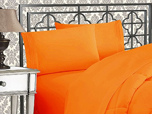 Elegant Comfort 1500 Thread Count Wrinkle & Fade Resistant Egyptian Quality Ultra Soft Luxurious 4-Piece Bed Sheet Set, Queen, Orange