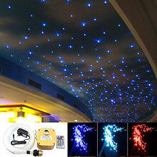 SHINE 16W Twinkle Fiber Optic Star Ceiling Lights Lamp Kit, LED RGBW Engine Driver RF Dimmable Remote Control, Mix Fibers 0.03in/0.75mm 0.04in/1mm 0.06in/1.5mm 13.1ft/4m 335pcs + Crystal