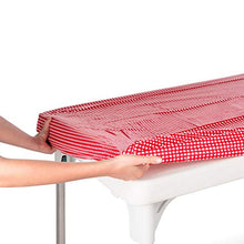 TopTableCloth Table Cover Red & White Checkered tablecloths Elastic Corner Fitted Rectangular Folding Table 6 Foot 30