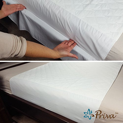 Priva High Quality Ultra Waterproof Sheet and Matress Protector 34x36 NCH No Slip, Stay in Place Tuck in Flaps 6 Cups of Absorbency