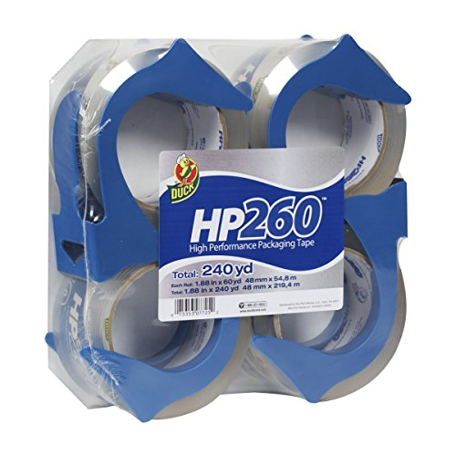 Duck HP260 Packing Tape, 4 Rolls with Dispensers, 1.88 Inch x 60 Yard, Clear (847667)