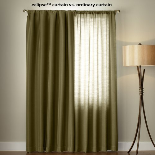 "Eclipse Kendall Thermal Insulated Single Panel Rod Pocket Darkening Curtains For Living Room, 42"" X"