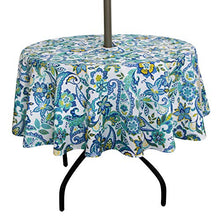 ColorBird Modern Paisley Flower Outdoor Tablecloth Water Resistant Spillproof Polyester Fabric Table Cover with Zipper Umbrella Hole for Patio Garden Tabletop Decor (60