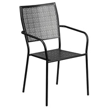 Flash Furniture Commercial Grade Black Indoor-Outdoor Steel Patio Arm Chair with Square Back