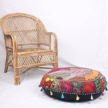 Sophia Art Round Floor Pillow Cushion Patchwork Pouf Ottoman Vintage Indian Foot Stool Bean Bag Floor Pillow Cover Home Decor Living Room Ottoman Bohemain Pillows (Black, 32 Inch)