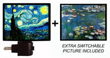 Night Light and Extra Picture, Starry Night and Water Lilies LED Night Light