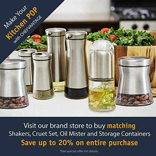 CHEFVANTAGE Salt and Pepper Shakers Set with Adjustable Holes - Black & White