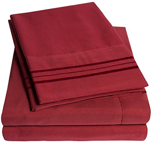 1500 Supreme Collection Extra Soft Queen Sheets Set, Burgundy - Luxury Bed Sheets Set with Deep Pocket Wrinkle Free Hypoallergenic Bedding, Over 40 Colors, Queen Size, Burgundy