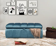 Iconic Home Chagit Bench Velvet Tufted Storage Ottoman, Blue