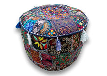 Sophia Art Indian Embroidered Patchwork Cover Indian Decorative Pouf Indian Comfortable Floor Cotton Cushion Ottoman Pouf,Indian Designs Ethnic Patchwork Pouf 18X13 inch (Beige) (Blue, 14