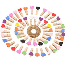 jijAcraft Mother's Day Photo Clips,Small Wood Clips,100Pcs Multicolor Mini Heart Shaped Wooden Clothespin with 100 Feet Jute Twine,3.5cm Craft Clips for Wedding Decoration