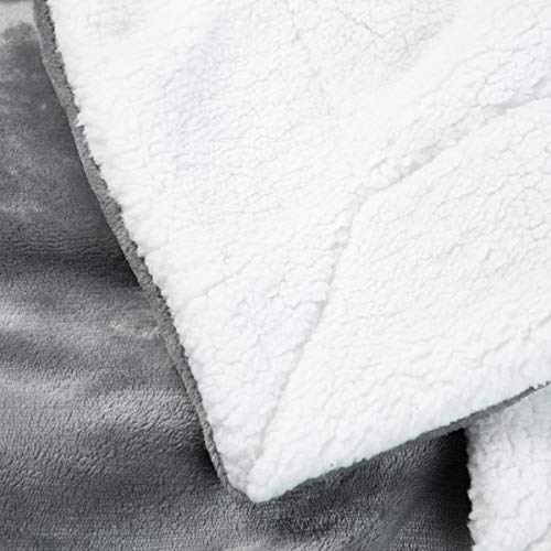 Bedsure Sherpa Fleece Blanket Twin Size Grey Plush Blanket Fuzzy Soft Blanket Microfiber