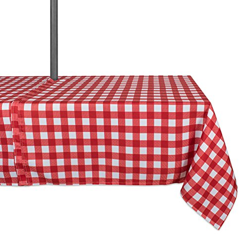 DII 100% Polyester, Spill Proof, Machine Washable, Zipper Tablecloth for Outdoor Use with Umbrella Covered Tables, 60x120 Round, Red Check, Seats 10 to 12 People, w