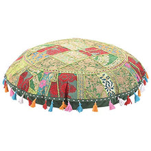 Sophia Art Round Floor Pillow Cushion Patchwork Pouf Ottoman Vintage Indian Foot Stool Bean Bag Floor Pillow Cover Home Decor Living Room Ottoman Bohemain Pillows (Green, 32 Inch)