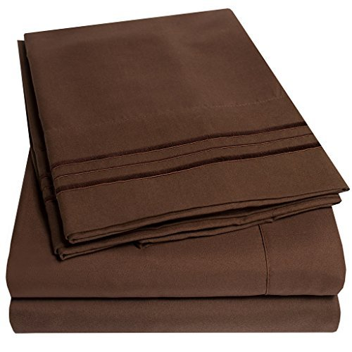 1500 Supreme Collection Extra Soft King Sheets Set, Brown - Luxury Bed Sheets Set with Deep Pocket Wrinkle Free Hypoallergenic Bedding, Over 40 Colors, King Size, Brown
