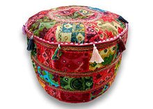 Indian Embroidered Patchwork Ottoman Cover,Indian Decorative Pouf Ottoman,Indian Comfortable Floor Cotton Cushion Ottoman Pouf,Indian Home Decorative Handmade Vintage Pouf Ottoman (Cover Only) (Red)