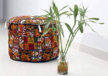GANESHAM Indian Home Decor Hippie Patchwork Bean Bag Boho Bohemian Hand Embroidered Ethnic Handmade Pouf Ottoman Vintage Cotton Floor Pillow & Cushion (13