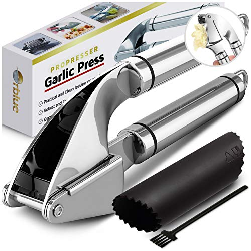 Orblue Garlic Press [Premium], Stainless Steel Mincer, Crusher & Peeler Set   Professional Grade, Ea
