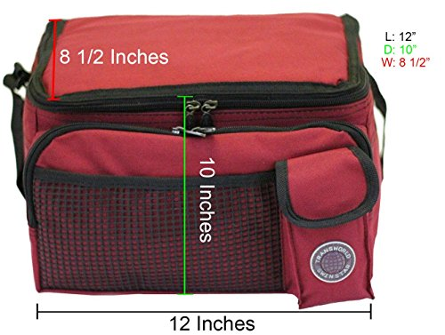 "Transworld Durable Deluxe Insulated Lunch Cooler Bag (Many Colors and Size Available) (12""x10""x8 1/2"", Red)"