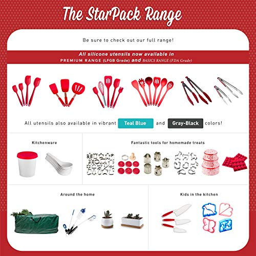 StarPack Basics XL Silicone Kitchen Utensil Set (6 Piece), High Heat Resistant to 480F, Hygienic One Piece Design, Large Non Stick Spatulas & Serving Utensils (Cherry Red)