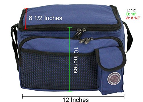 "Transworld Durable Deluxe Insulated Lunch Cooler Bag (Many Colors and Size Available) (12""x10""x8 1/2"", Navy)"