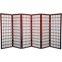 Oriental Furniture 4 ft. Tall Window Pane Shoji Screen - Rosewood - 6 Panels