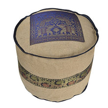 Lalhaveli Indian Handmade Jute Fabric Round Ottoman Cover 17 x 17 x 14 Inch