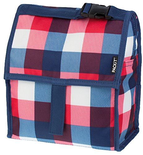 PackIt Freezable Lunch Bag with Zip Closure, Buffalo Check