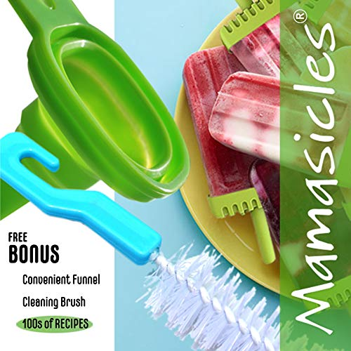 Popsicle Molds with Sticks Ice Pop Maker | 6 Pieces BPA Free Silicone Funnel and Cleaning Brush | Clearance Sale by Mamasicles