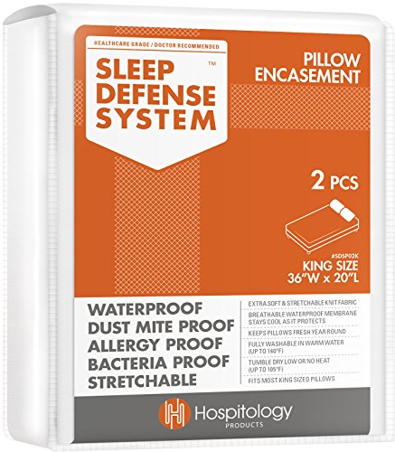 "HOSPITOLOGY PRODUCTS Sleep Defense System - Zippered Pillow Encasement - King - Hypoallergenic Protector - Waterproof - Bed Bug & Dust Mite Proof - Set of 2-20"" H x 36"" W"
