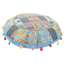 Sophia Art Round Floor Pillow Cushion Patchwork Pouf Ottoman Vintage Indian Foot Stool Bean Bag Floor Pillow Cover Home Decor Living Room Ottoman Bohemain Pillows (Turquoise, 32 Inch)