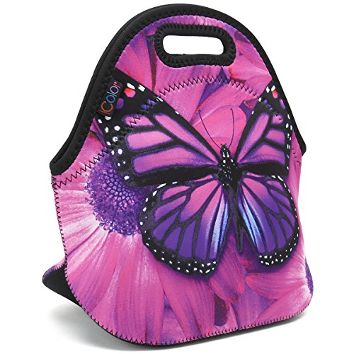 ICOLOR Purple Big Butterfly Insulated Neoprene Lunch Bag Tote Handbag lunchbox Food Container Gourmet Tote Cooler warm Pouch For School work Office