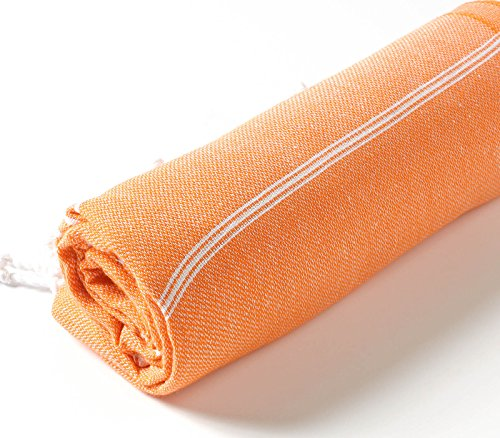 Cacala 100% Cotton Pestemal Turkish Bath Towel, 37 x 70, Orange