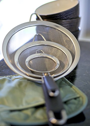Live Fresh Fine Mesh Strainer Set   Rust Proof Stainless Steel With Non Slip Handles   Premium Strain