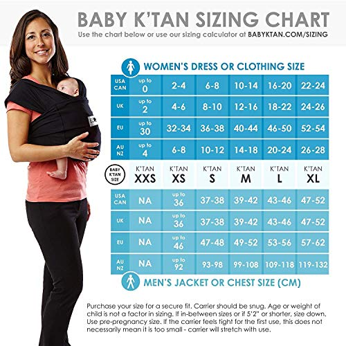 Baby K'tan Original Baby Wrap Carrier, Infant and Child Sling - Simple Wrap Holder for Babywearing - No Rings or Buckles - Carry Newborn up to 35 lbs, Heather Grey, Women 22-24 (X-Large), Men 47-52