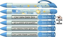Greeting Pen Baby Pens-Baby Boy Block Shower Favor/Birth Announcement Rotating Message 6 Pen Set 36504