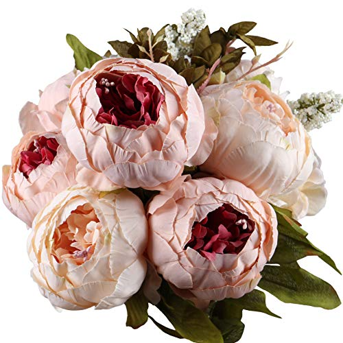 Leagelã'â Fake Flowers Vintage Artificial Peony Silk Flowers Bouquet Wedding Home Decoration, Pack O