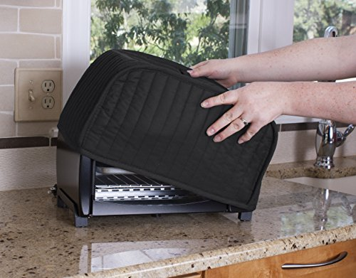 RITZ Polyester / Cotton Quilted Toaster Oven Broiler Appliance Cover, Dust and Fingerprint Protection, Machine Washable, Black